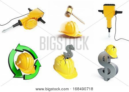 Objects set helmet industry worker on a white background 3D illustration