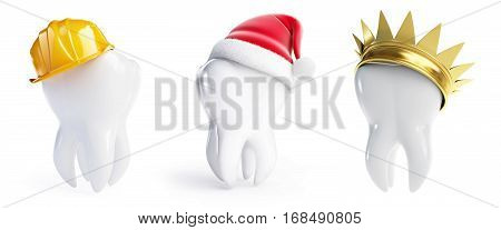 teeth hats crown Santa hat helmet worker on a white background 3D illustration