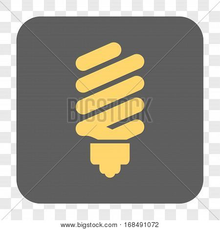 Fluorescent Bulb interface toolbar button. Vector icon style is a flat symbol inside a rounded square button yellow and gray colors chess transparent background.