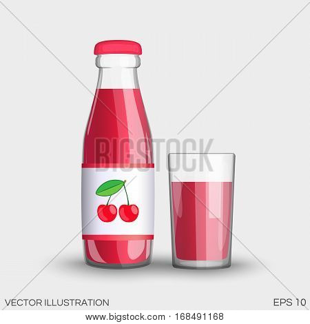 Cherry Juice In A Transparent Glass Bottle Isolated