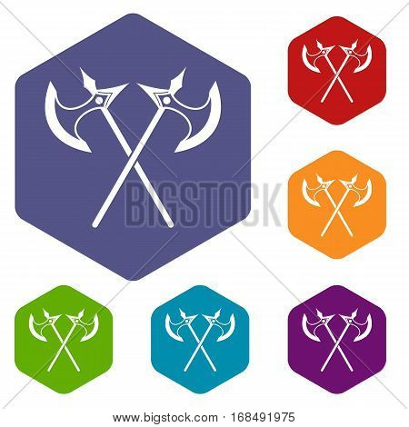 Crossed battle axes icons set rhombus in different colors isolated on white background