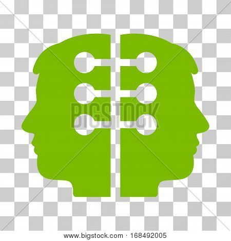 Dual Head Interface icon. Vector illustration style is flat iconic symbol, eco green color, transparent background. Designed for web and software interfaces.