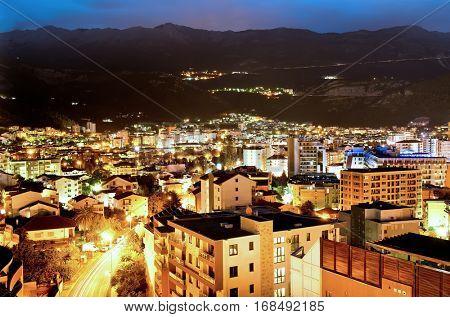 Budva town at night, Montenegro, Europe. Street and moon light