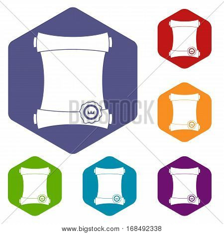 Paper scroll with wax seal icons set rhombus in different colors isolated on white background