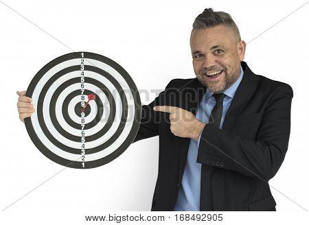 Caucasian Man Bull eye Dart Board Smiling