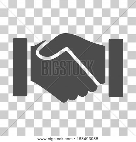 Acquisition Handshake icon. Vector illustration style is flat iconic symbol, gray color, transparent background. Designed for web and software interfaces.