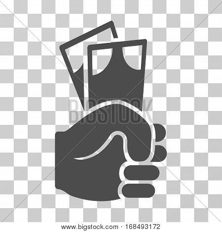 Banknotes Salary Hand icon. Vector illustration style is flat iconic symbol, gray color, transparent background. Designed for web and software interfaces.