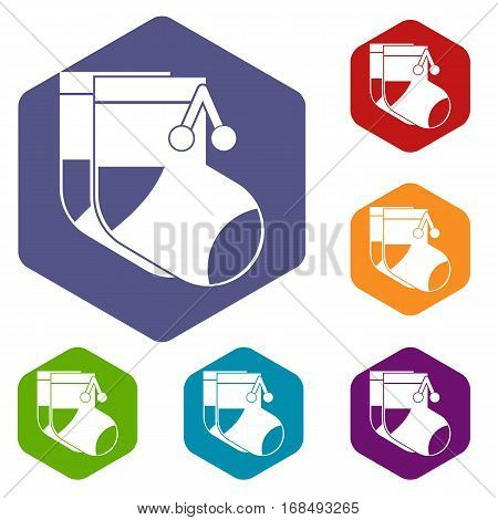 Baby socks icons set rhombus in different colors isolated on white background