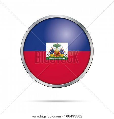 Vector Haitian flag button. Haiti flag glass button style with metal frame.