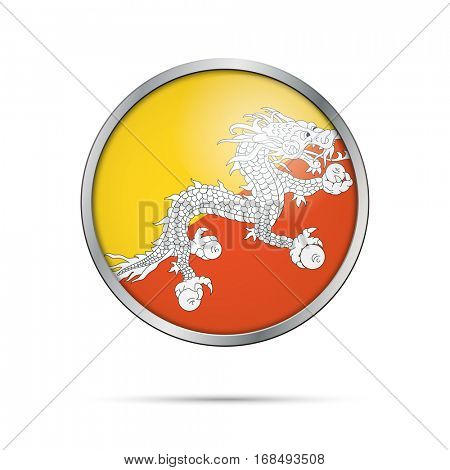 Vector Bhutanese flag button. Bhutan flag glass button style with metal frame.
