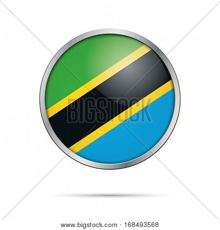 Vector Tanzanian flag button. Tanzania flag glass button style with metal frame.