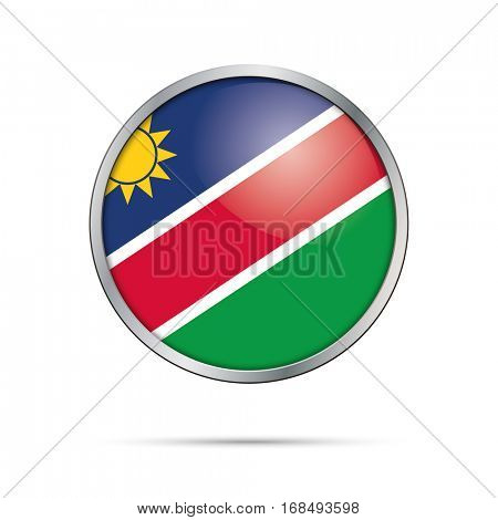 Vector Namibian flag button. Namibia flag glass button style with metal frame.