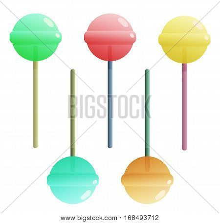 Various colors lollipops, isolated icons vector set