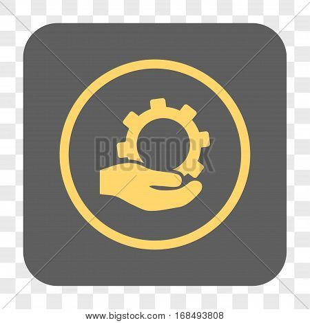 Service interface toolbar button. Vector icon style is a flat symbol in a rounded square button yellow and gray colors chess transparent background.