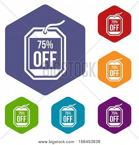 Sale tag 75 percent off icons set rhombus in different colors isolated on white background
