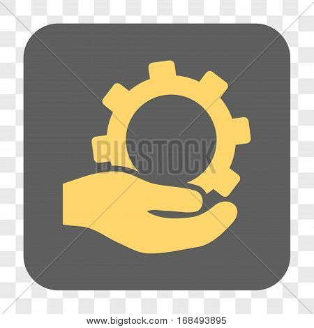 Service interface toolbar button. Vector icon style is a flat symbol on a rounded square button yellow and gray colors chess transparent background.