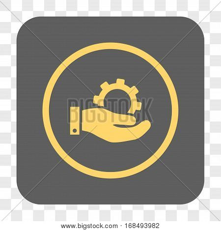 Service interface toolbar button. Vector icon style is a flat symbol inside a rounded square button yellow and gray colors chess transparent background.