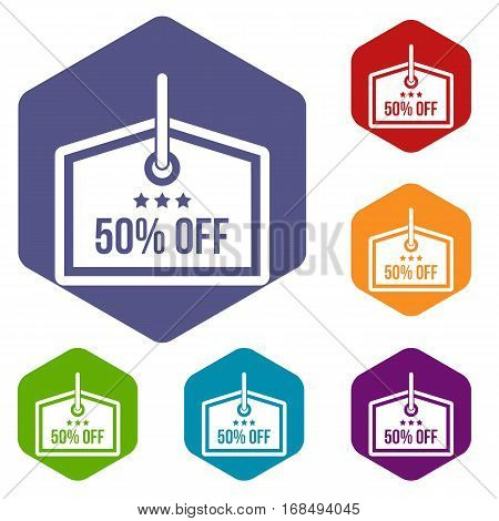 Sale tag 50 percent off icons set rhombus in different colors isolated on white background