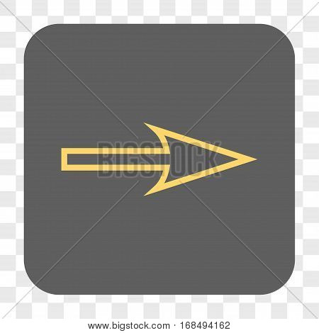 Sharp Arrow Right interface toolbar button. Vector icon style is a flat symbol in a rounded square button yellow and gray colors chess transparent background.