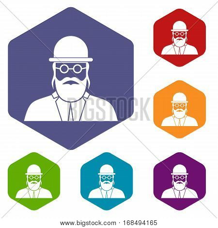 Orthodox jew icons set rhombus in different colors isolated on white background