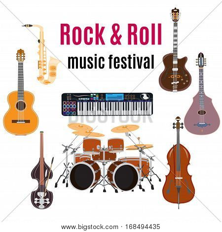 Vector set of rock and roll music instruments. Rock and roll flat style design elements isolated on a white background.