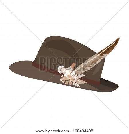 Vector illustration of hunting hat with feather and metal badge with blackcock oak leaves and acorns. Flat style illustration.