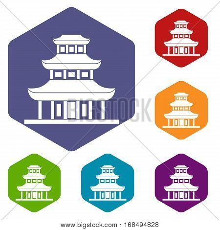 Buddhist temple icons set rhombus in different colors isolated on white background
