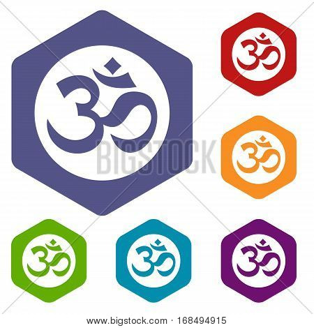 Symbol Aum icons set rhombus in different colors isolated on white background