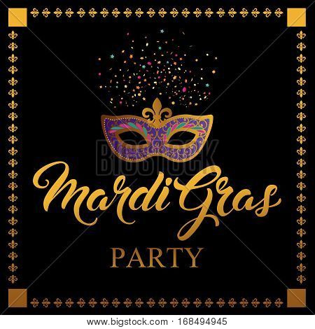 Mardi Gras mask, colorful poster, template. Vector illustration.
