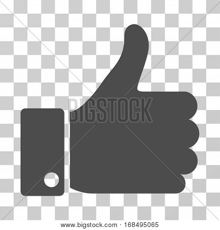 Thumb Up icon. Vector illustration style is flat iconic symbol, gray color, transparent background. Designed for web and software interfaces.