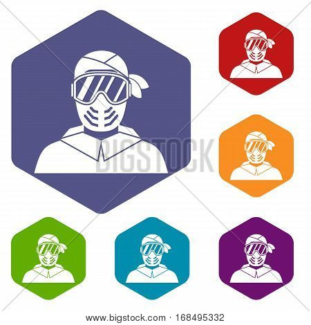 Paintball player wearing protective mask icons set rhombus in different colors isolated on white background