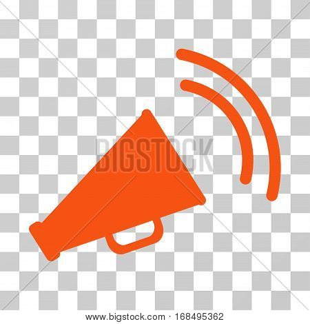 Announce Horn icon. Vector illustration style is flat iconic symbol, orange color, transparent background. Designed for web and software interfaces.