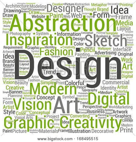 Concept conceptual creativity art graphic design visual word cloud isolated on background metaphor to advertising, decorative, fashion, identity, inspiration, vision, perspective or modeling