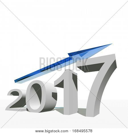 Concept or conceptual 3D illustration 2017 year and arrow, metaphor to success, growth, graph, future, finance, financial, new year, holiday, increase, rise, date, career, forecast, December progress