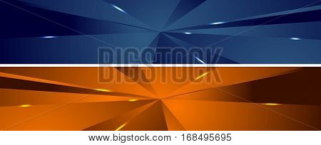 Abstract tech polygonal headers design. Vector banners template backgrounds
