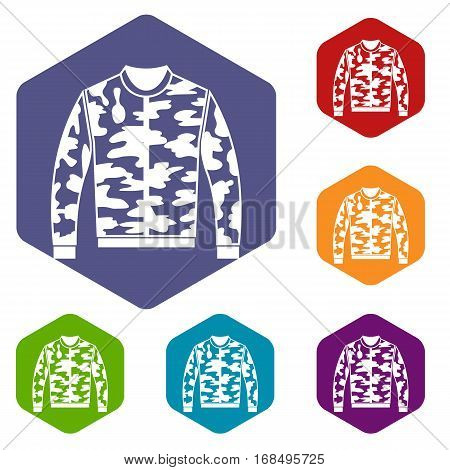 Camouflage jacket icons set rhombus in different colors isolated on white background