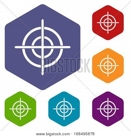 Target crosshair icons set rhombus in different colors isolated on white background