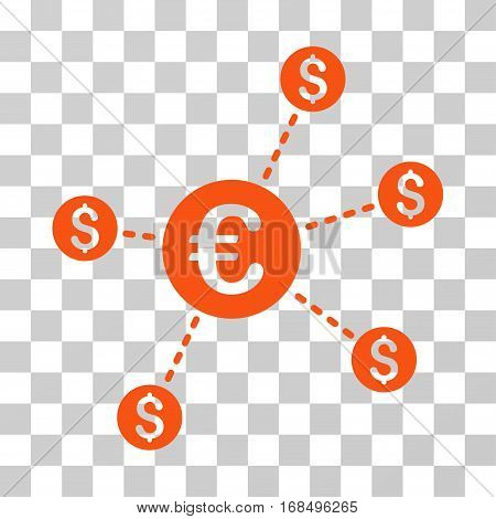 Currency Network Nodes icon. Vector illustration style is flat iconic symbol, orange color, transparent background. Designed for web and software interfaces.