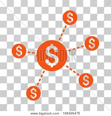 Dollar Network Nodes icon. Vector illustration style is flat iconic symbol, orange color, transparent background. Designed for web and software interfaces.