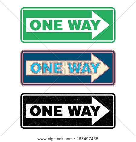 One way sign set green neon and grunge. Vector illustration