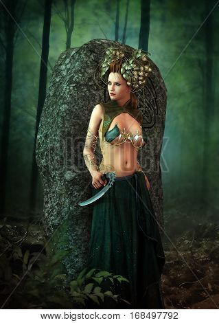 3D computer graphics of a female druid in fantasy style