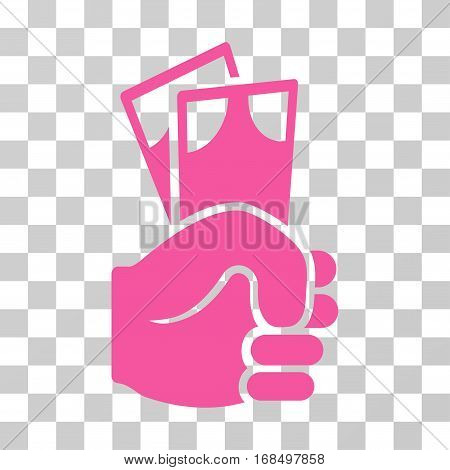 Banknotes Salary Hand icon. Vector illustration style is flat iconic symbol, pink color, transparent background. Designed for web and software interfaces.