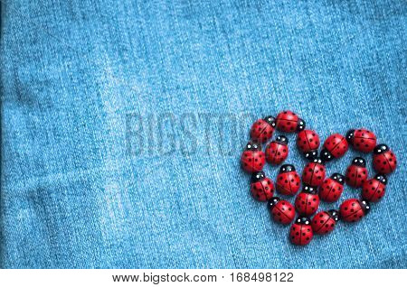A Group Of Wooden Ladybugs