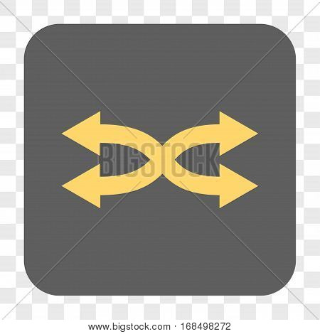 Shuffle Arrows Horizontal interface toolbar button. Vector icon style is a flat symbol in a rounded square button yellow and gray colors chess transparent background.