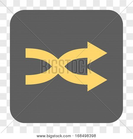 Shuffle Arrows Right interface toolbar button. Vector icon style is a flat symbol in a rounded square button yellow and gray colors chess transparent background.