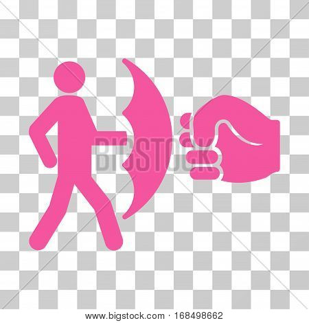 Crime Protection icon. Vector illustration style is flat iconic symbol, pink color, transparent background. Designed for web and software interfaces.