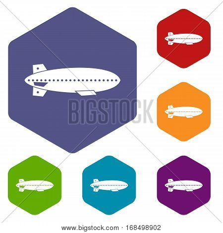 Dirigible balloon icons set rhombus in different colors isolated on white background