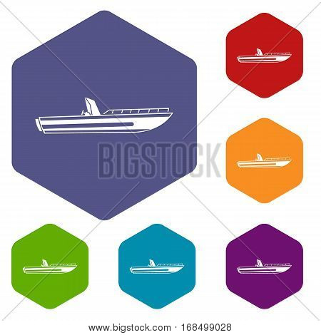 Motor speed boat icons set rhombus in different colors isolated on white background