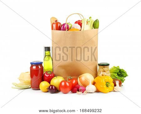 Fresh vegetables and foodstuff on white background poster