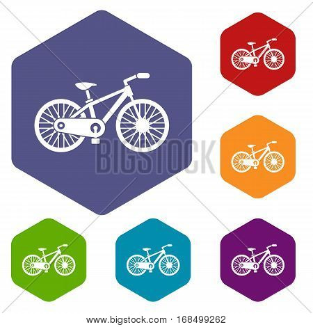 Bicycle icons set rhombus in different colors isolated on white background
